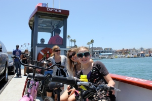 Riding the ferry across to Balboa Island.