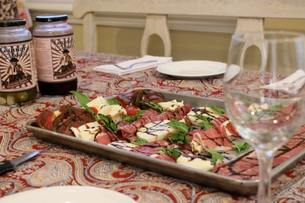 Seriously delicious antipasto salad created by the girls, with some pickled vegetables on the side.