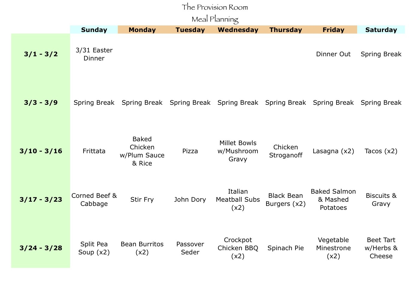 Mar-13 Meal Plan