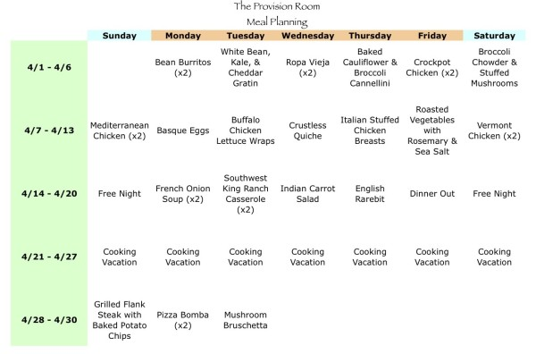 Apr-13 Meal Plan