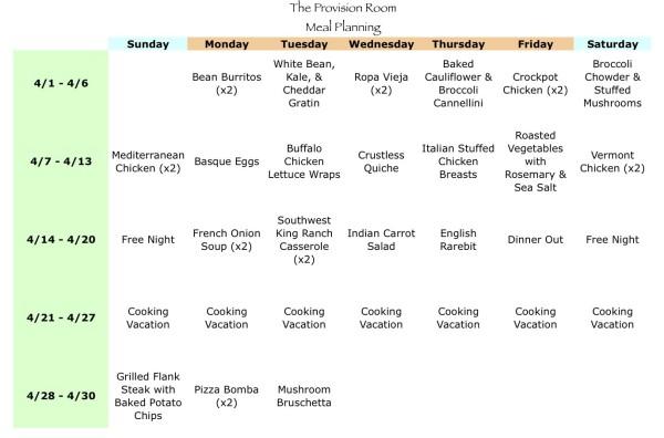 Apr-13 Meal Plan