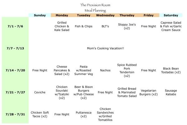 Jul-13 Meal Plan