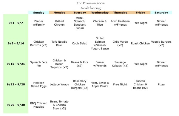 Sep-13 Meal Plan
