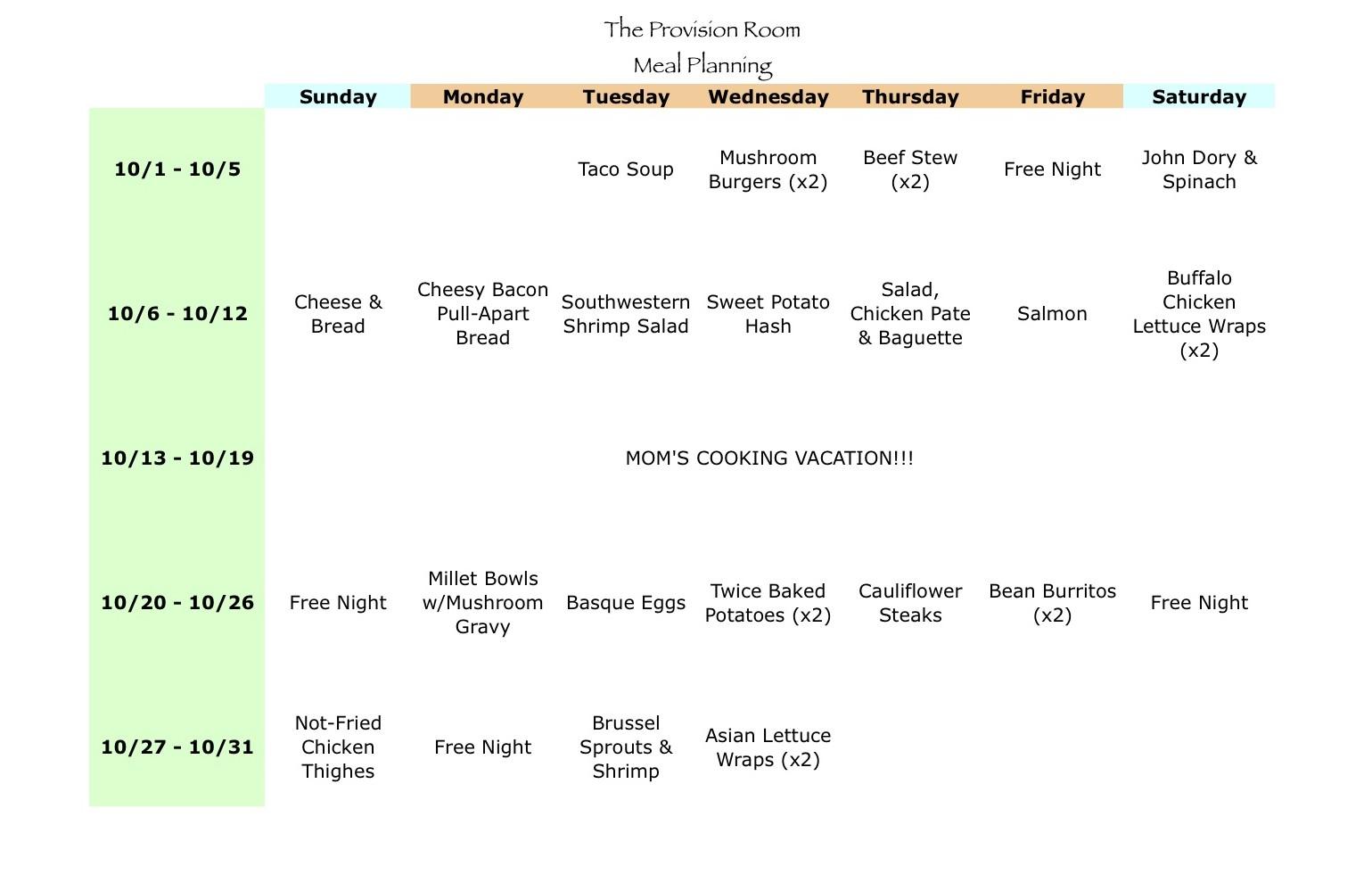 Oct-13 Meal Plan