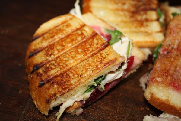 The Day After Thanksgiving Panini: Turkey, Cranberry Sauce, Arugula, and Fontina